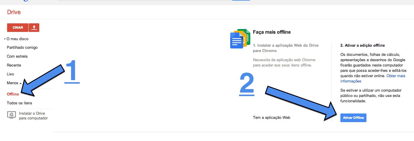 segredos do Google Drive documentos offline