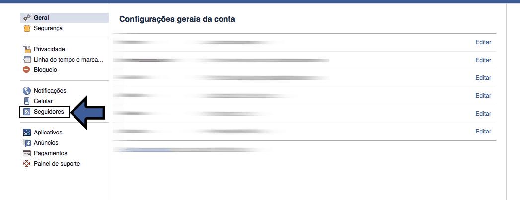 Seguir no Facebook configurações