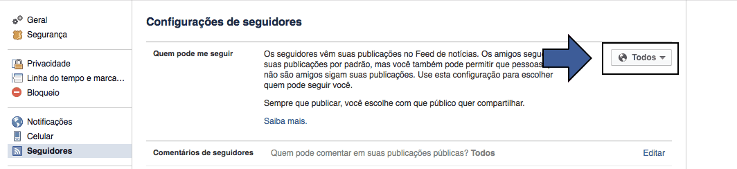 Seguir no Facebook Retirar a opção