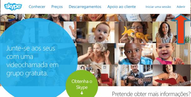 começar a usar o Skype