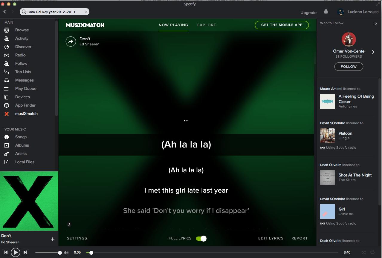 Truques do Spotify MusiXmatch
