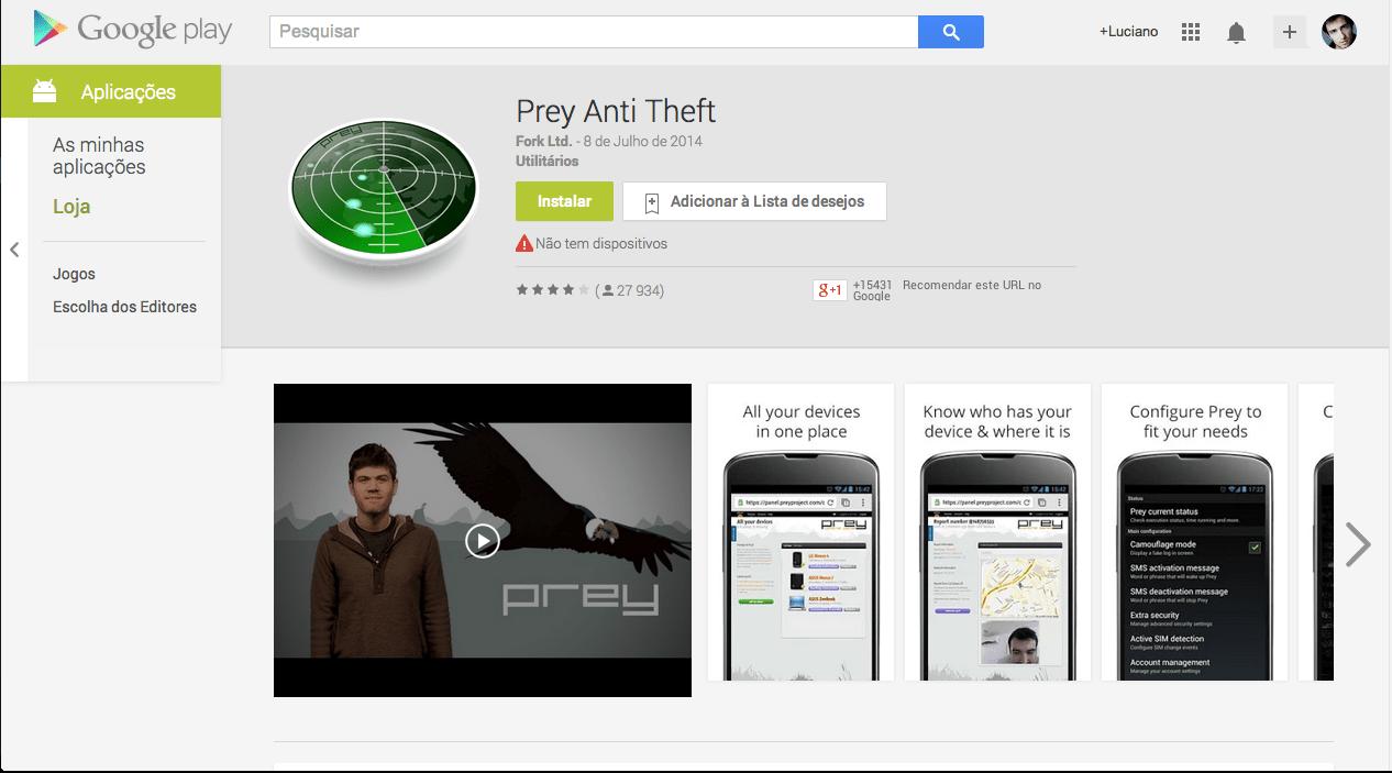 Android roubado Prey Anti Theft