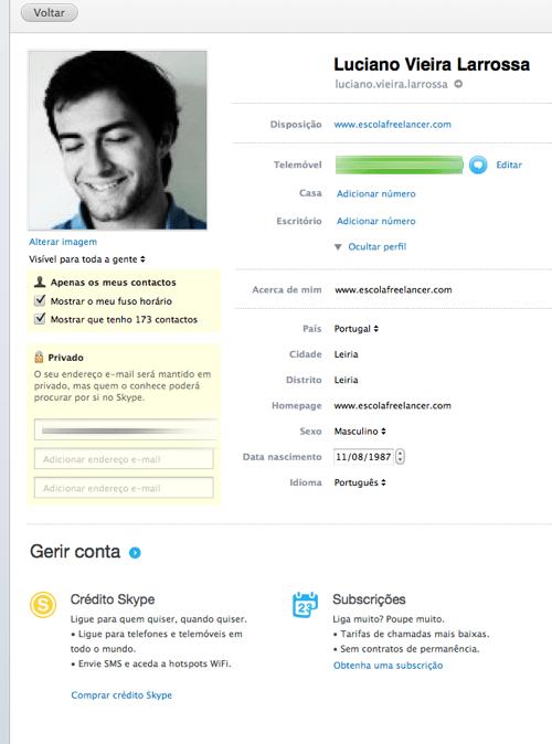 edição do perfil no Skype