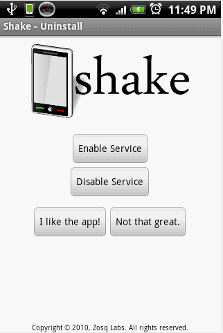 remover programas no Android Shake