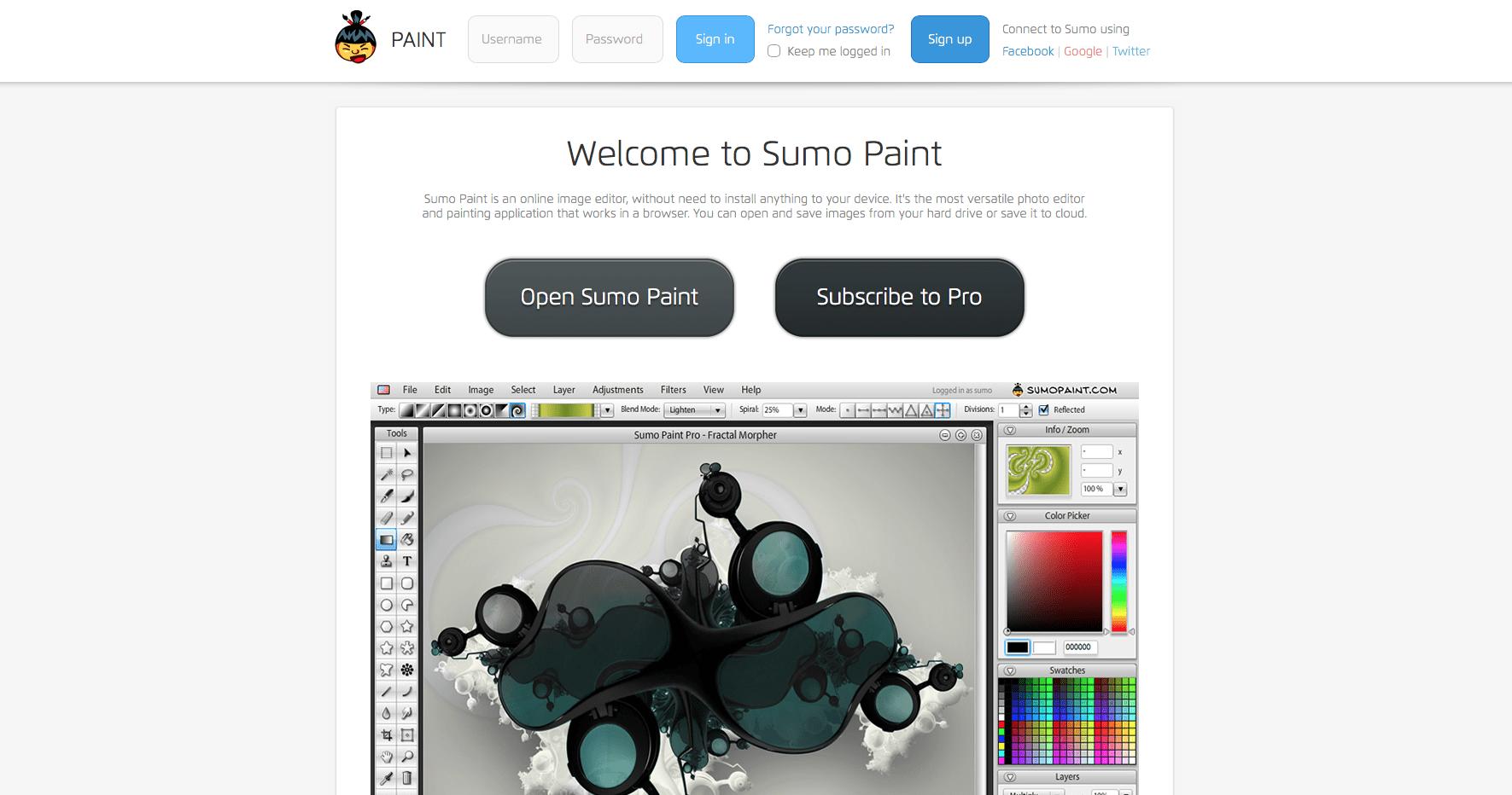SumoPaint para edição de imagens