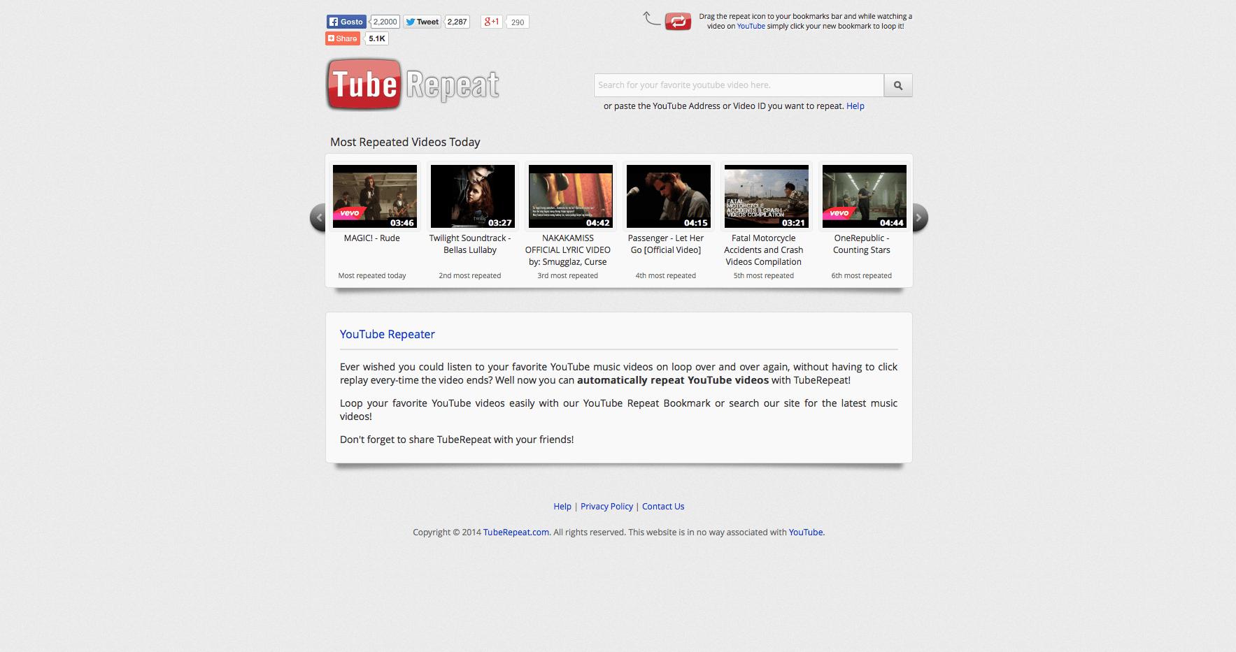 repetir vídeos no Youtube TubeRepetar
