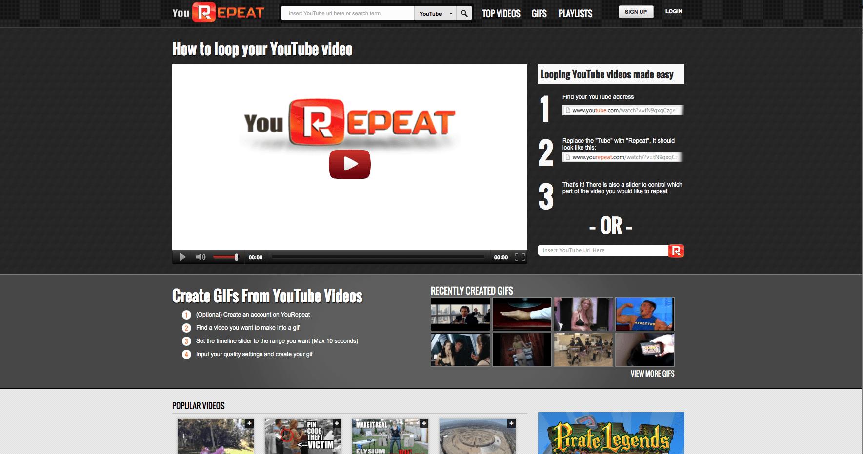 repetir vídeos no Youtube