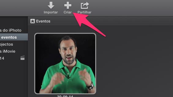 Tutoriais iMovie botão criar