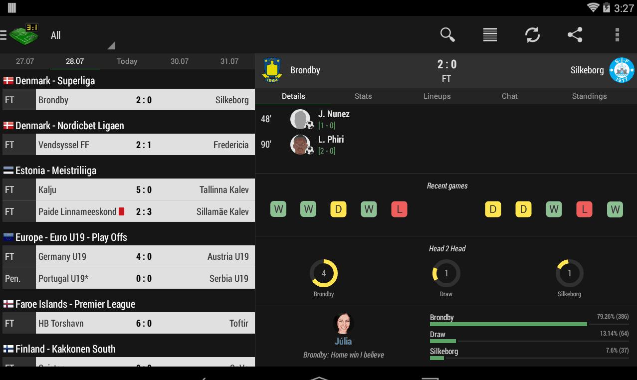 resultados no Android Football Live Score
