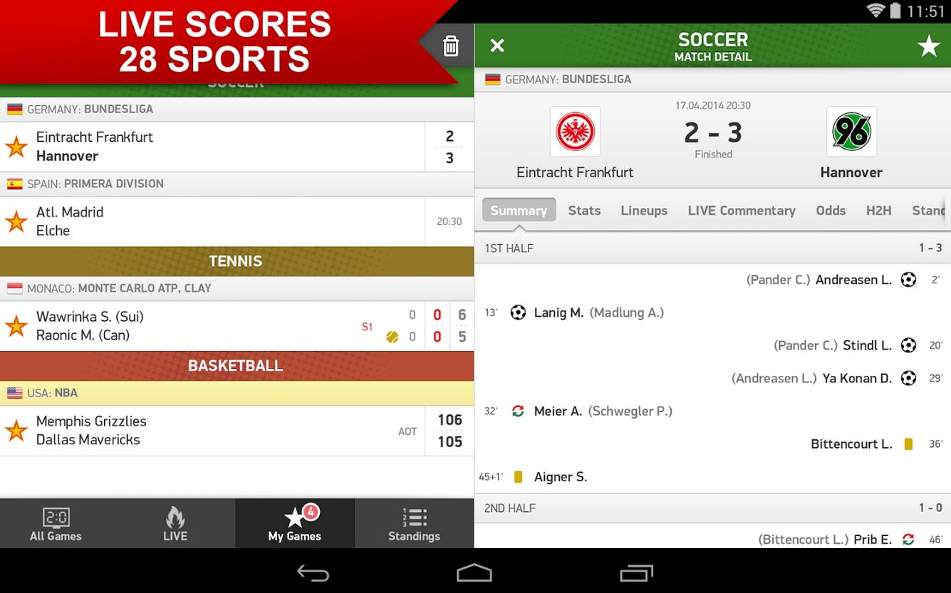 resultados no Android LiveScore