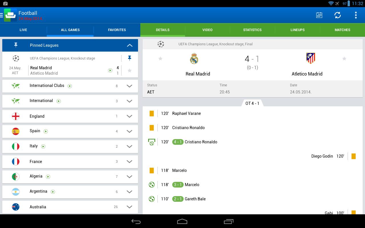 resultados no Android