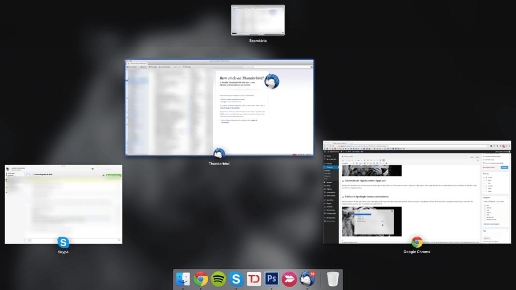 pressionar F3 no Mac