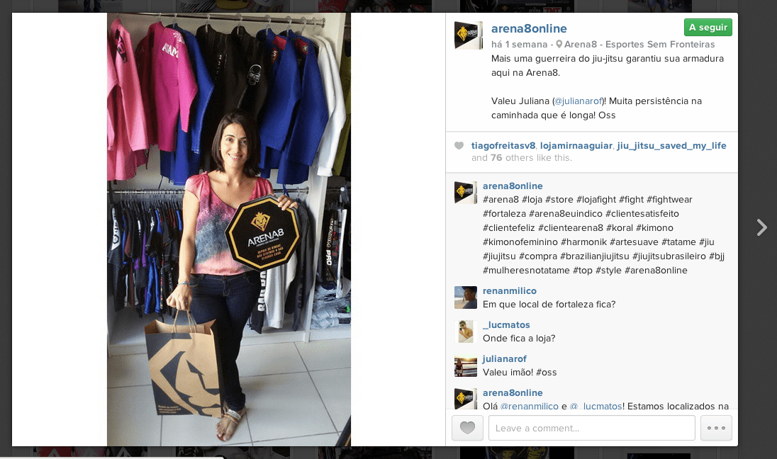 Exemplo de cliente no Instagram