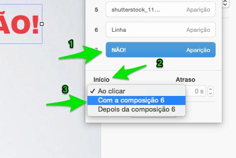 Modificar a ordem da composição no Keynote