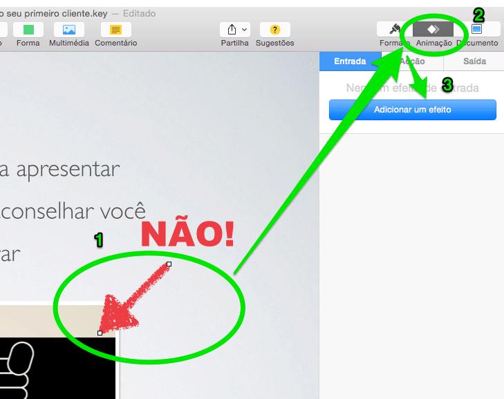 adicionar um efeito no Keynote
