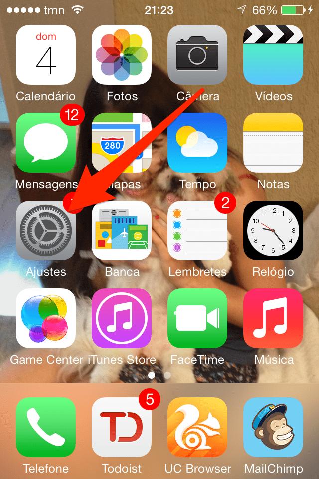 ir aos ajustes no iPhone