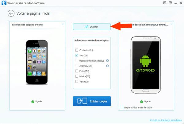 transferir mensagens do Android para o iPhone inverter ordem