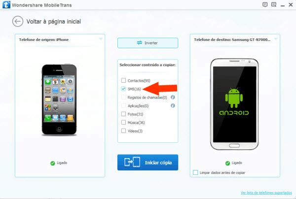 transferir mensagens do Android para o iPhone segundo passo seleção