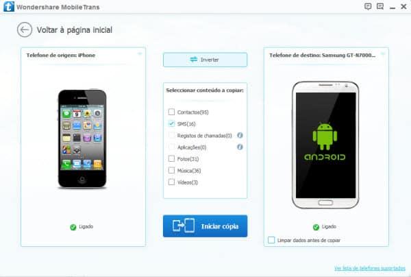 transferir mensagens do Android para o iPhone segundo passo