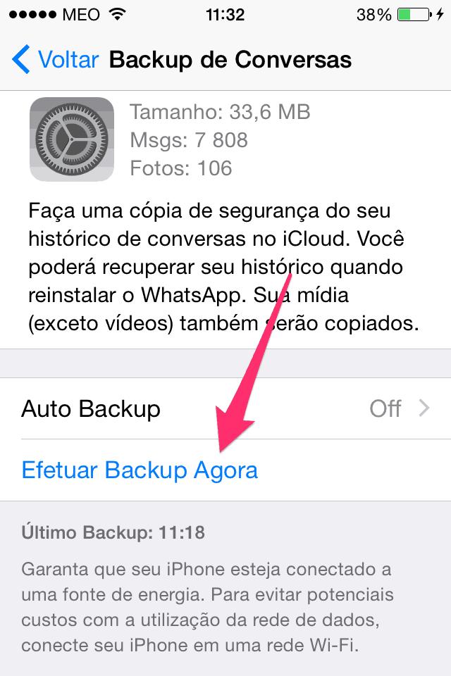 efeturar Backup agora no Whatsapp