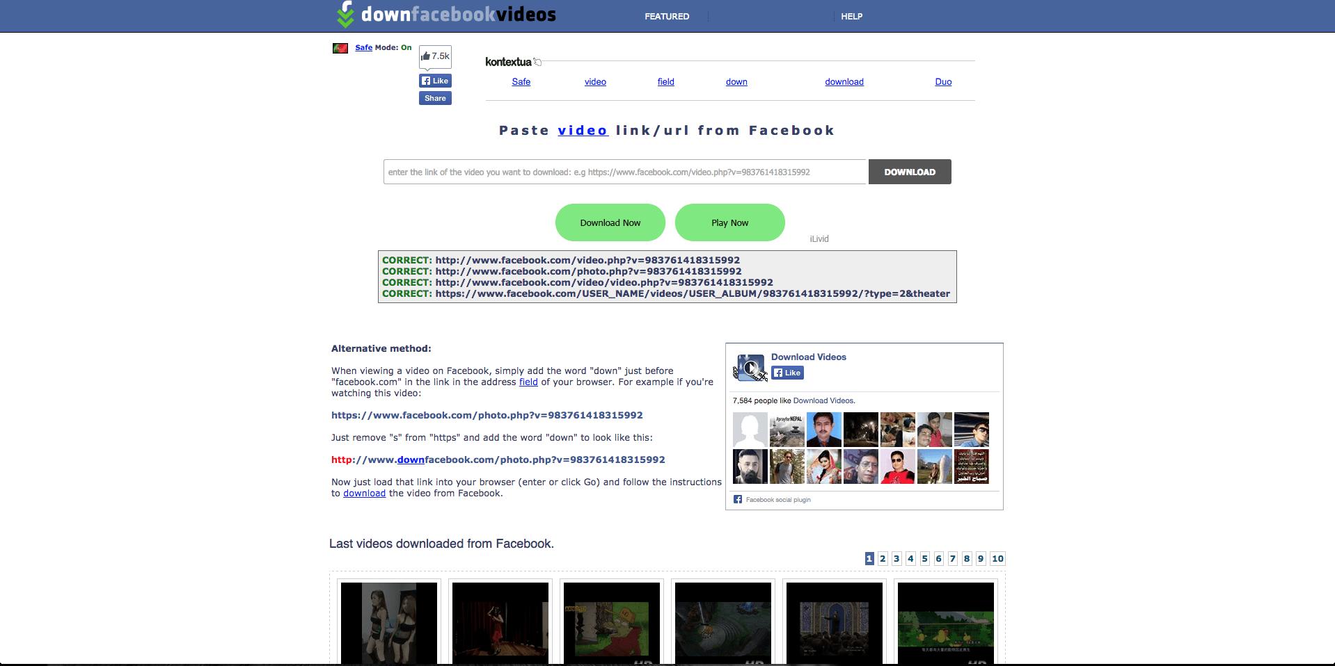 DownFacebook download Facebook videos