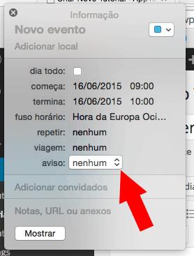 criar o alerta no iCal