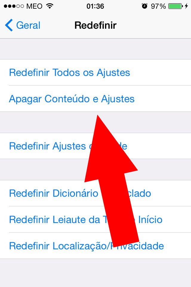 Apagar conteudos e ajustes do iPhone
