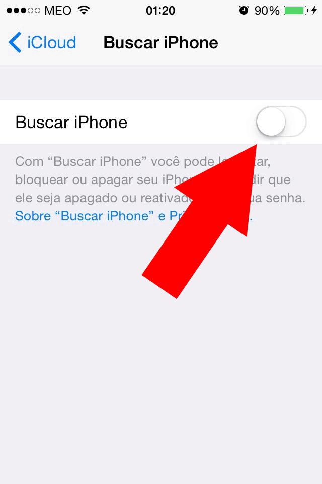 desligar o opção buscar iphone