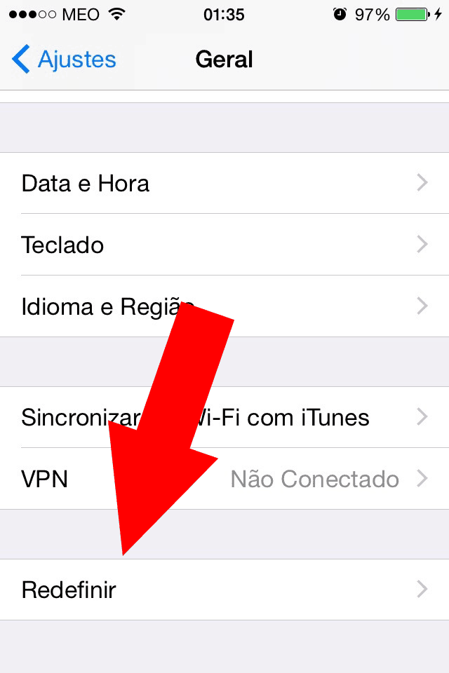 redefinir no iPhone