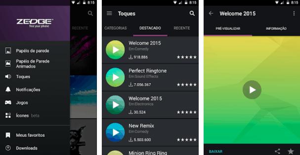 Zedge toques e fundos para Android