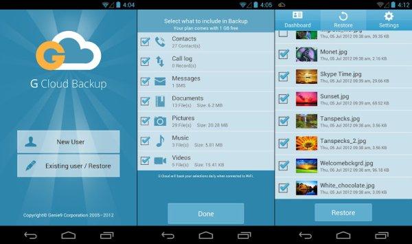 GCloud Backup app de backup para android
