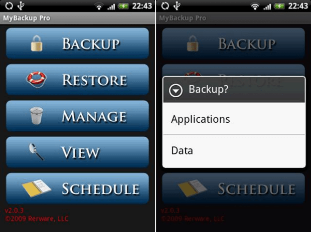 MyBackup aplicativo backup para Android