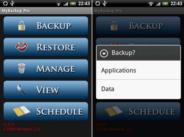 MyBackup aplicativo backup para Android
