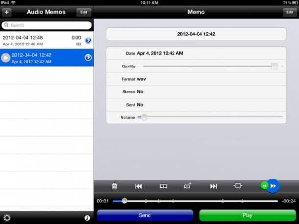 Audio Memos Free iPad