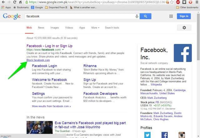 bloquear sites no Google Chrome