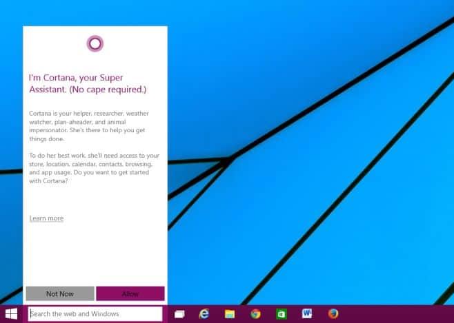 ativar a cortana no Windows 10