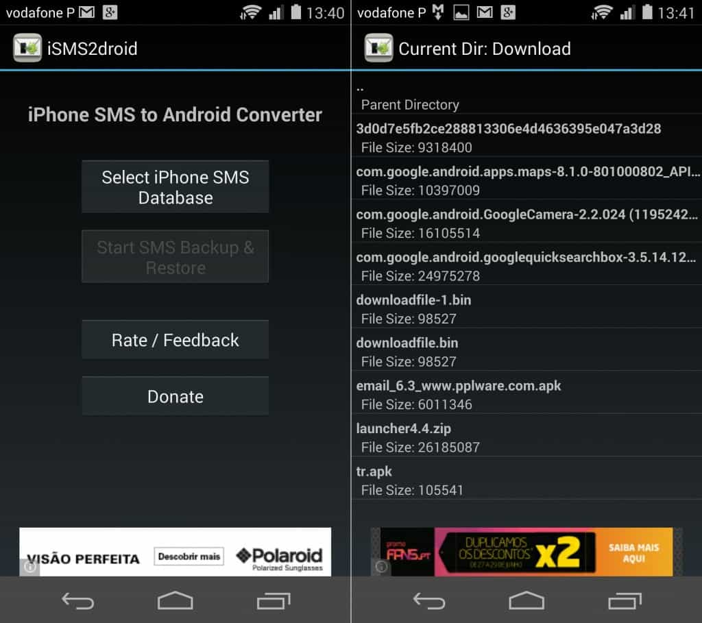 isms2droid mensagens do iphone no android