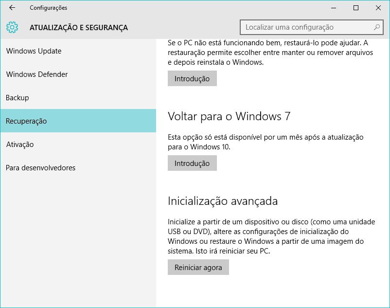 voltar do Windows 10