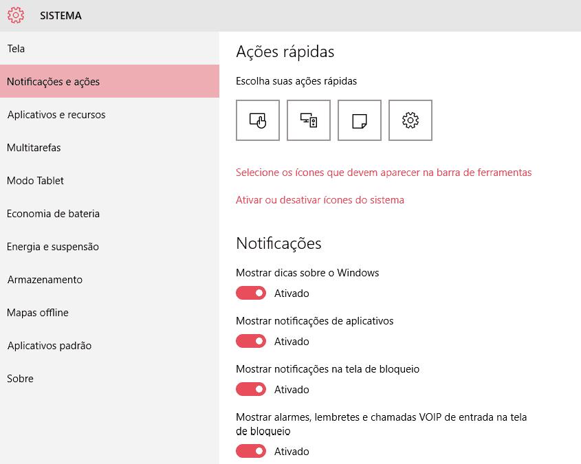 desativar notificações do Windows