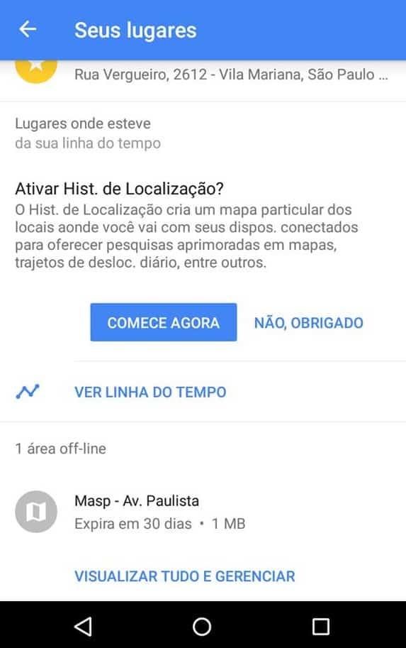 modo offline do Google Maps