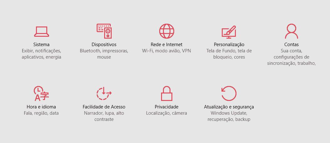 opções do Windows 10