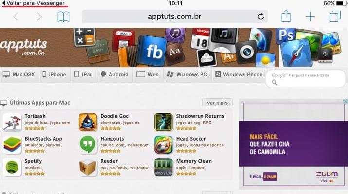 voltar para um app ios 9