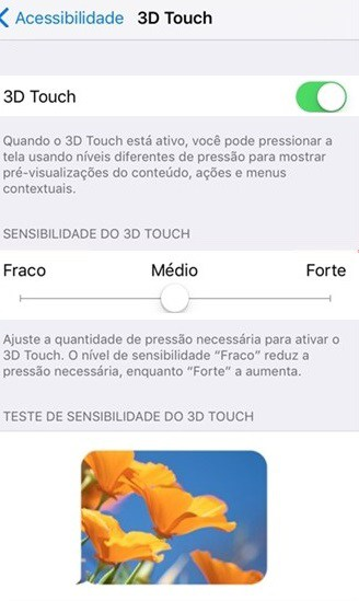 ajustar o 3d touch