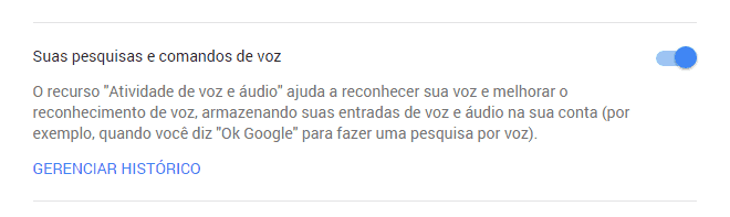 apagar histórico de voz do Google Now