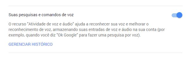 apagar histórico de voz do Google Now