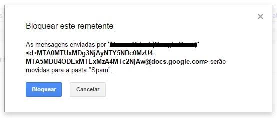 bloquear alguém no gmail