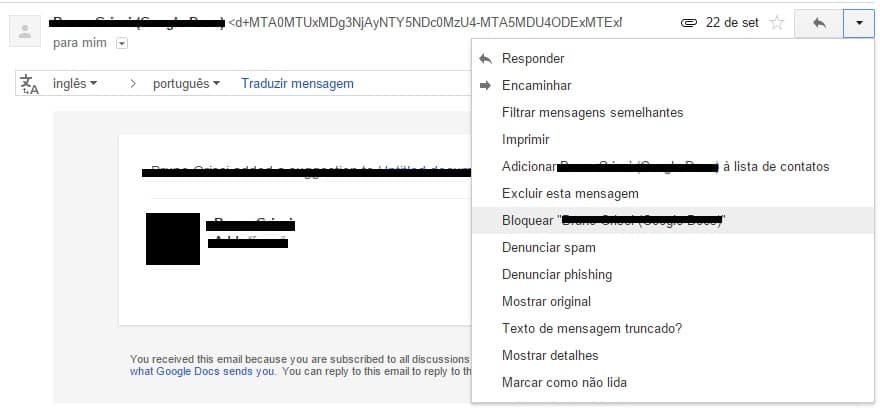 bloquear contato no gmail