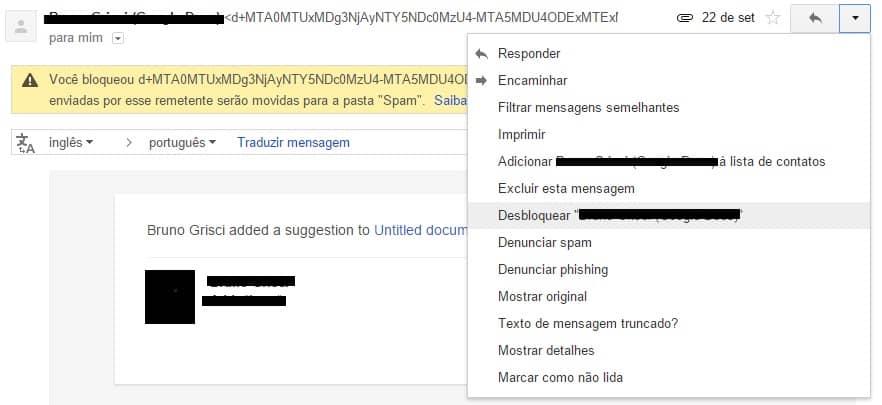 desbloquear um contato no gmail