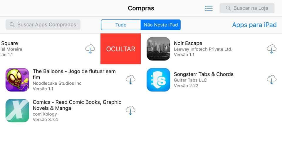 esconder aplicativos da app store