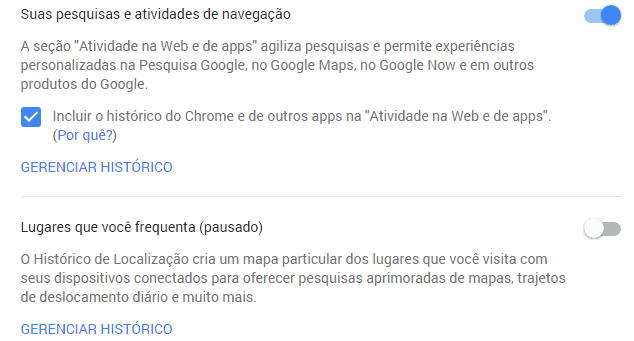 histórico do Google
